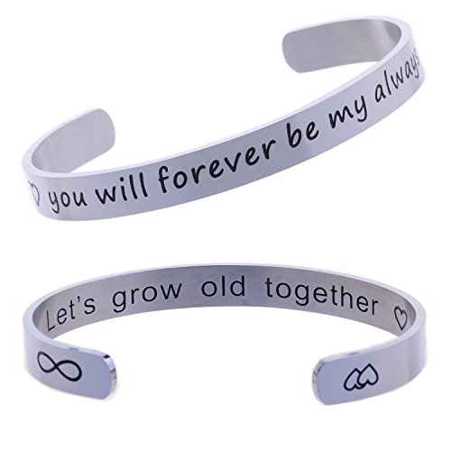 BESPMOSP Valentines Day Let's Grow Old Together, Gift for Her, Wedding Cuff Bracelet, Anniversary Jewelry