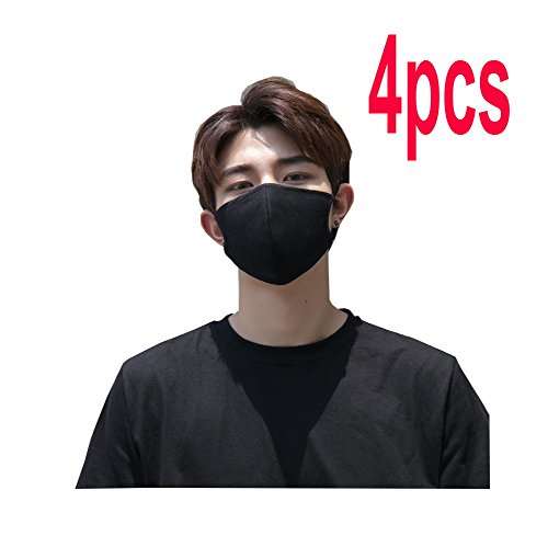 4 Pcs Cotton Blend Black Anti Dust Asian Medical Surgical Flu Fashion Face Mouth Mask for Man Woman