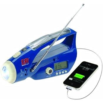 ER Emergency Ready 6NWB Solar/Hand-Crank Powered LED Flashlight with Digital Weather Band Radio and USB Charging Port