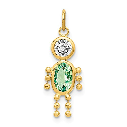 14k Yellow Gold August Boy Birthstone Pendant Charm Necklace Kid Fine Jewelry Gifts For Women For Her