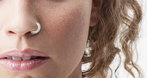 Tribal Nose Ring: Sterling SIlver Handmade Nostril Piercing Hoop in 20 Gauge 7mm