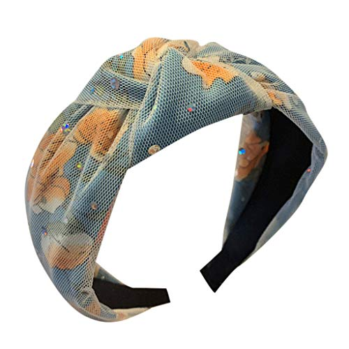 - Floral Printed Headband Mesh Sequins Head Hoop Wrapped Knotted Wide Hair Band for Women (Blue)