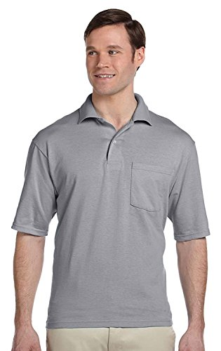 - Jerzees 5.6 oz., 50/50 Jersey Pocket Polo with SpotShield, Large, OXFORD