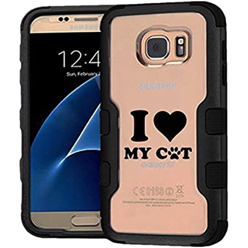 Galaxy S7 Case I Love My Cat, Extra Shock-Absorb Clear back panel + Engineered TPU bumper 3 layer protection for Sales