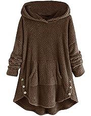 BIBOKAOKE Oversized teddy hoodie dames fleece mantel lange pluche jas met capuchon, herfst winter warm casual losse pullover jas met capuchon wintermantel outwear capuchontrui pluche jas