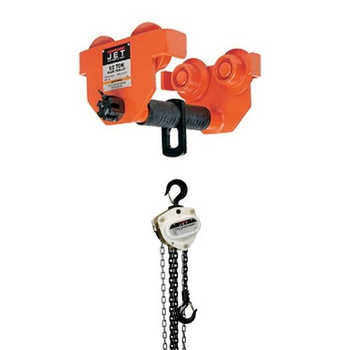 JET 252010 1 PT 1-Ton Capacity Plain Trolley for H or I Beams with L-100-100-15, 1-Ton Hand Chain Hoist with 15' Lift