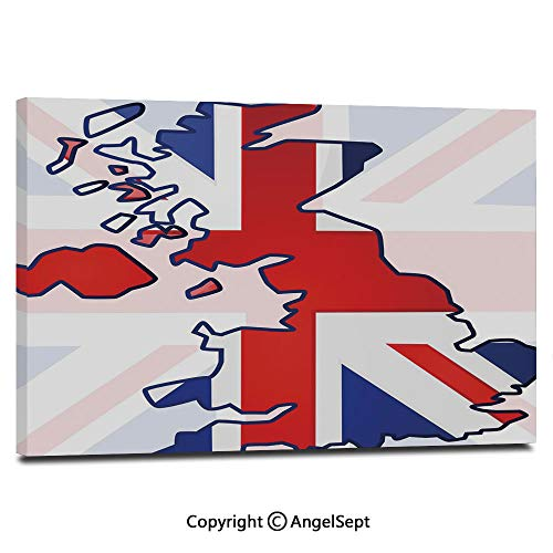 Wall Art Decor High Definition Faded United Kingdom Flag and Country Map Composition Nations Symbols Painting Home Decoration Living Room Bedroom Background,16