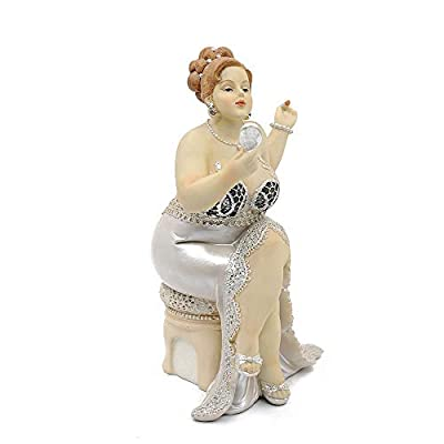 """Comfy Hour 9"""" Resin Elegan Fat Lady in The Make-Up Collectible Figurine, Pearl & Black"""
