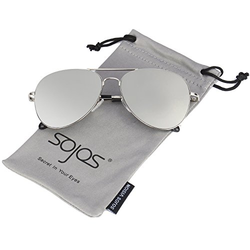 Sojos Classic Aviator Mirrored Flat Lens Sunglasses Metal Frame With Spring Hinges Sj1030 With Silver Frame Silver Mirrored Lens