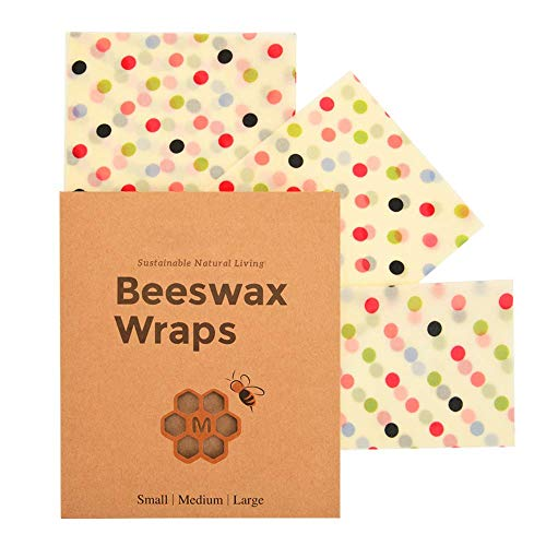 LENRUE Beeswax 3 Packs Reusable Bees Wraps,Eco-Friendly Sustainable Plastic Free Food Storage for Sandwich,Cheese,Fruit,Bread,Snacks, 1 Small, 1 Medium, 1 Large, dot