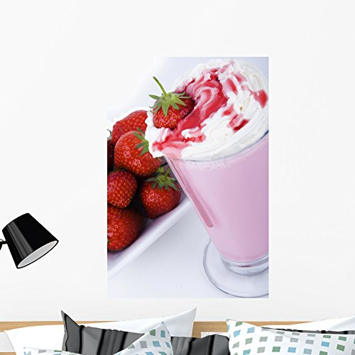 Wallmonkeys Strawberry Milkshake Wall Decal Peel and Stick Graphic WM319868 (36 in H x 24 in W) -