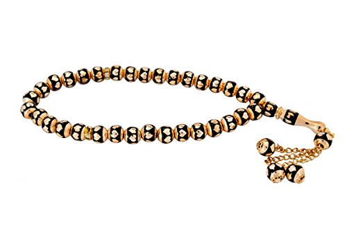 Arabic Prayer Beads (Rosary Prayer Beads Tesbih Tasbih Misbaha Subha - Black with Golden Hearts)