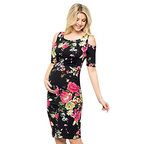 MCYs Damen Umstandskleid Stillkleid Blumen Print Schulterfrei ...