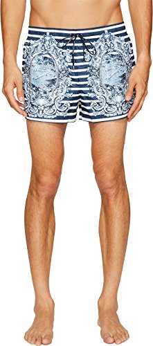 Dolce & Gabbana Men's Capri Short Boxer Swimsuit Blue/White 4 by Dolce & Gabbana