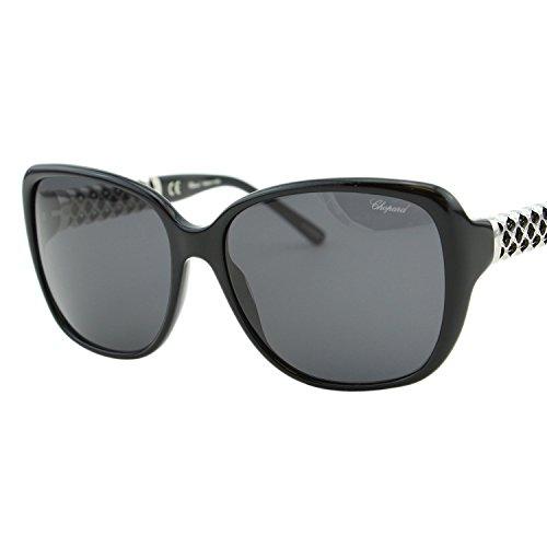 Chopard Imperiale SCH-184 700 Women Black Silver Metal Detail Square Sunglasses ()