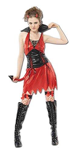 Momo&Ayat Fashions Ladies Halloween Hot Devil Costume Onesize 4-10 (Onesize (4-10), Red)