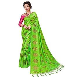 Monjolika Fashion Women's Silk Saree With Un-Stitched Blouse