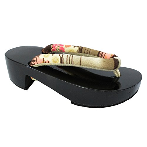Ez-sofei Donna Giapponese Scarpe Tacco Alto In Legno Getas A-nero Floreale