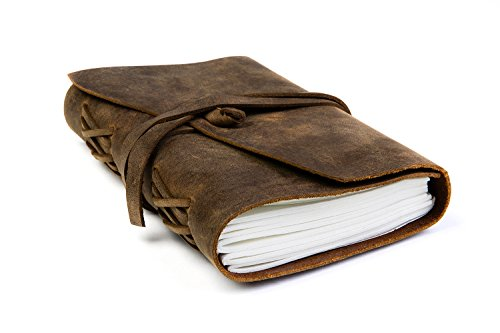"""Premium Quality Handmade Leather Journal from HIBERNO, Unlined Paper, Daily Notebook Writing, Note Taking, Meeting, Sketching, Traveling, Drawing, 7"""" …"""