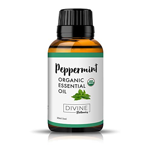 USDA Organic Peppermint Essential Oil - 100% Pure Multi-Purpose Oil for Skin, Stress, Natural Headache and Migraine Relief, and More - Premium Diffuser Oils for Aromatherapy by Divine Botanics, 1 oz