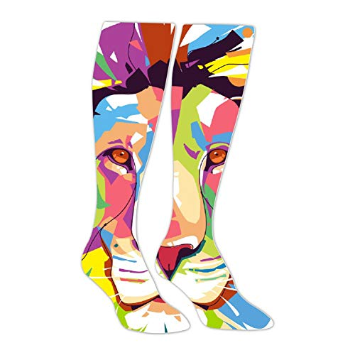 Knee High Stockings Art Color Lion Long Socks Sports Athletic for Man and Women]()