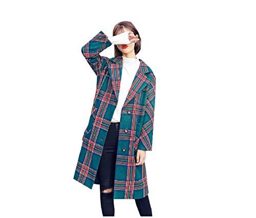 Worsted Tartan Wool - Abetteric Women Tartan Fashional Single Breasted Loose Jackets Worsted Coat Green M