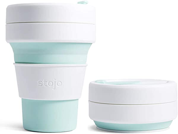 Stojo Pocket Cup 355 ml Collapsible Silicone Travel Cup Green