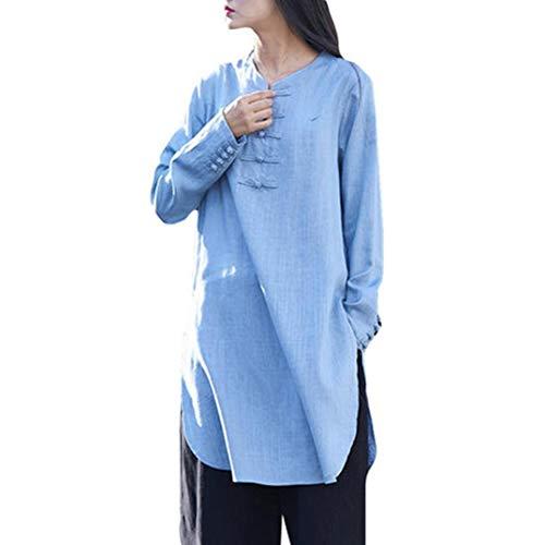 Clearance On Sale Litetao Women Tops Plus Size Casual Chinese Button Half Sleeve Linen Kungfu Dress Shirt (L, Sky Blue)