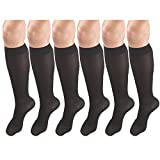 Women's Compression Stockings, 20-30 mmHg, Knee High Length, Closed Toe, Opaque Black Small (6 Pairs)