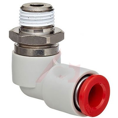 SMC KS Series PBT Rotary Push-to-Connect Tube Fitting, 90 Degree Elbow with Sealant, 1/4'' Tube OD x 1/8'' NPT Male (Pack of 10)