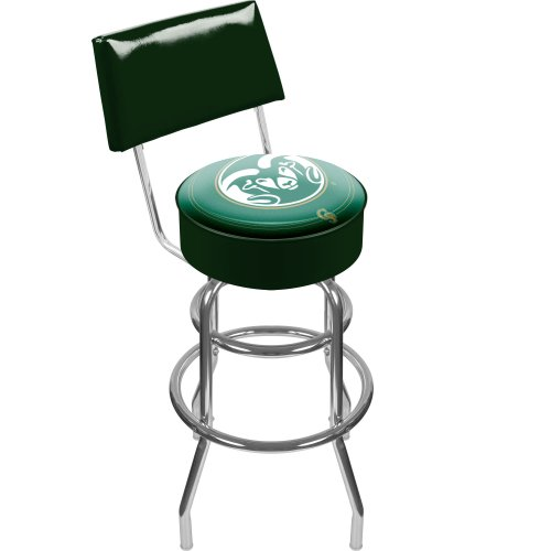NCAA Colorado State University Padded Swivel Bar Stool with Back by Trademark Gameroom