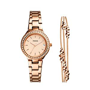 Fossil Women's 'Blane' Quartz Stainless Steel Casual Watch, Color:Rose Gold-Toned (Model: ES43378ET)