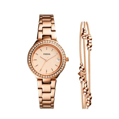 Fossil Women's 'Blane' Quartz Stainless Steel Casual Watch, Color:Rose Gold-Toned (Model: ES4337SET)