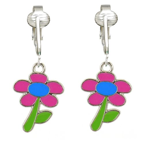 Daisy Clip Earrings (Fun Pink Daisy Clip-on Earrings for Girls & Kids-Special Clipon Creations w Handcrafted Charms,)