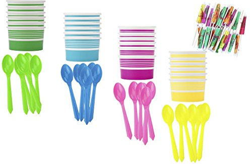 - Yellow Blue Pink Green - Paper Dessert Cups - Plastic Spoons - Paper Umbrellas - Birthday Party Goods - 24 Each (Ice Cream Sundae Party)