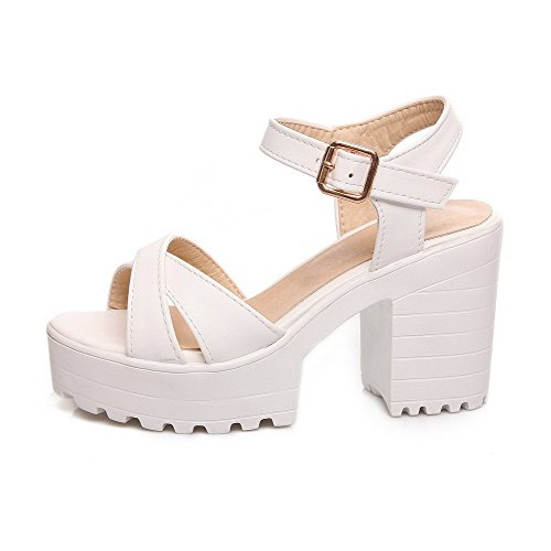 Amoonyfashion Dames Pu Hoge Hakken Open-teen Massieve Gesp Hakken-sandalen Wit