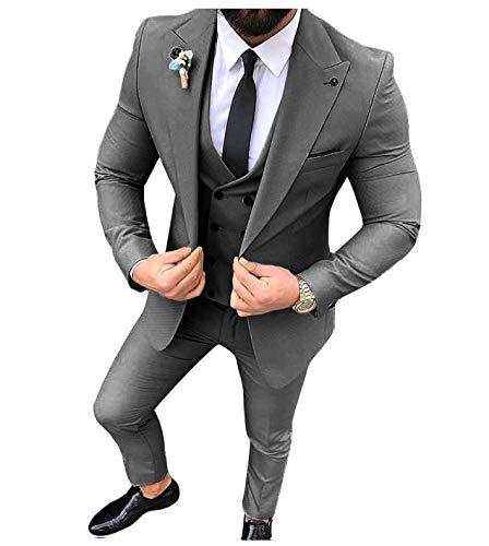Traje para hombre, 3 piezas, ajustado, solapa sólida, para esmoquin, para boda (lazer+chaleco + pantalones)