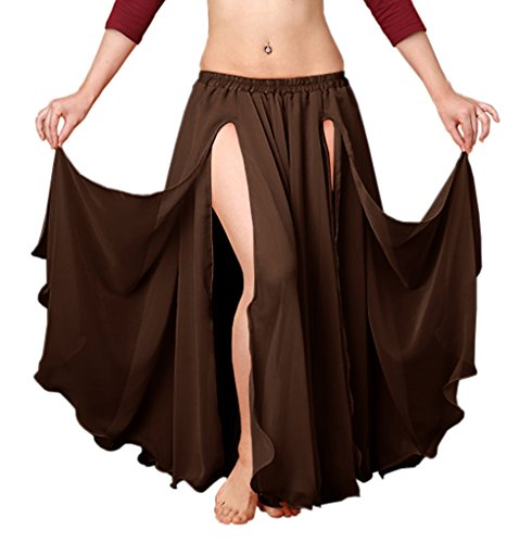 (Indian Trendy Chiffon Double Layer 2 Font Slit Skirt Belly Dance Tribal Panel Jupe Rock (One Size, Coffee))