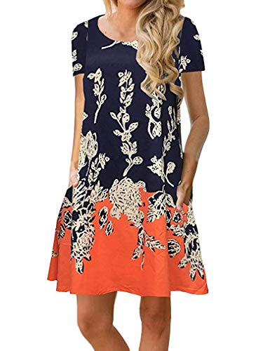 Sherosa Women's Summer Short Sleeve Dresses Floral Print Casual Beach Sun Dress (XL, Short Sleeve Pattern 2)