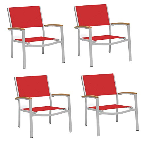 (Oxford Garden Travira Chat Chair with Powder Coated Aluminum Frame and Tekwood Natural Armcaps - Red Sling Seat (Set of 4))
