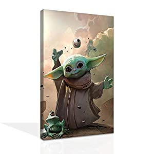 Star Wars Lovely Child Mandalorian and One-eyed Frog Poster HD Print Canvas Paintings Wall Art for Home Living Room Bedroom Party Decor (8 x 12 inch,Unframed)