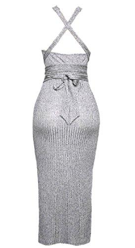 Coolred-slim Femme Dos Nu Sans Manches En Forme Ceinturée Sexy Une Ligne Grise Robe De Soirée Midi