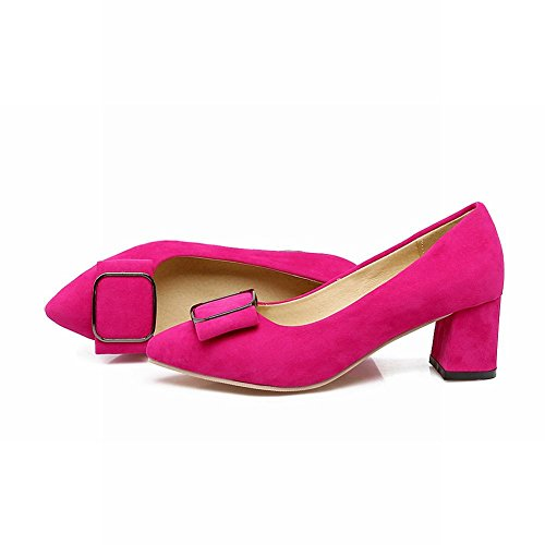 Latasa Womens Faux Suede Pointed-toe Chunky Heel Pumps Rose Red DxIAqprZdg