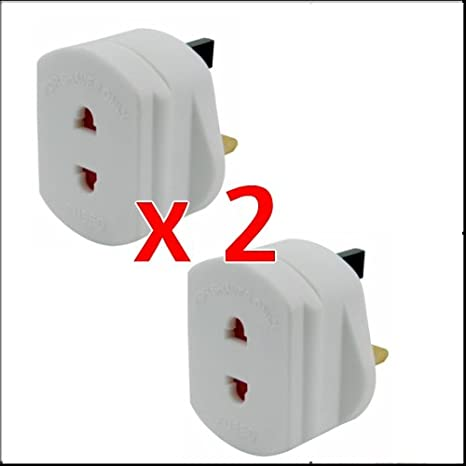 MSC UK 2 Pin To UK 3 Pin Electric Shaver Ideal for European Travel for ShavingToothbrush Charger Adaptor Plug Converter Adapter Plug Two Pack
