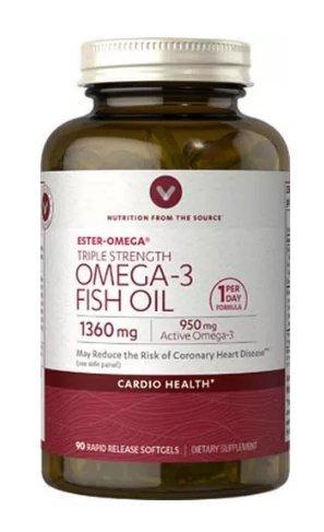 Vitamin World Triple Strength Omega-3 Fish Oil 1360mg/950mg Active Omega-3 90 softgels