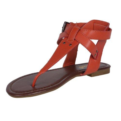 Anna Lynk-6 Sandale Ajustable À La Cheville Sandale Pour Femme Avec Picots Supérieurs Et Métalliques Et Semelle Intérieure Rembourrée, Couleur: Cognac, Taille: 7