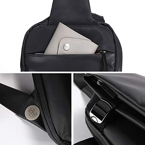 XIAOF-FEN Mens Chest Bag Sports Outdoor Waterproof Cross-Body Shoulder Messenger Bag Men Bags Color : Small Bowl Black, Size : S
