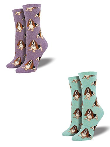 Bundle 2 Items: Basset Hound Mint and Lavender One Size Fits Most Womens -