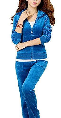 2 Funny Womens Tracksuit - Uniquezone Women Ladies 2 Pieces Velour Sweat and Pants Tracksuit Set