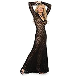 Women s Long Sleeve Lace Gown with Deep V Front · Elegant Moments 76d000d2b